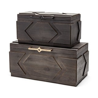 Link to Mercana Cassia Set of Two Dark Stained Wooden Boxes - 21L x 11W x 10H; 16L x 10W x 8H Similar Items in Accent Pieces