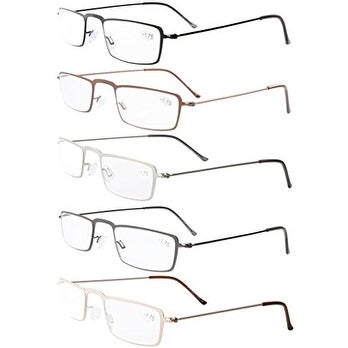 Eyekepepr 5-Pack Stainless Steel Frame Half-eye Style Reading Glasses+4.0