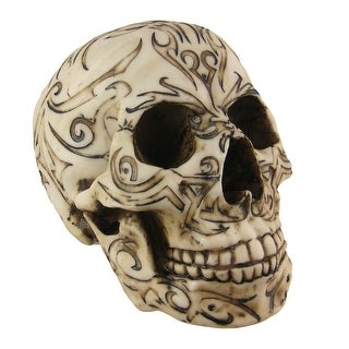 Tribal Tattoo Human Skull Statue Figure - 6 X 5 X 7.5 inches