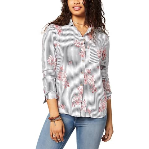Polly & Esther Womens Blouse Striped Floral Print - M