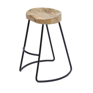The Urban Port Brand Classy Wooden Barstool With Iron Legs (Long)