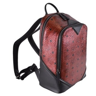 MCM Scooter Red Coated Canvas Visetos DUKE Small Backpack Bag