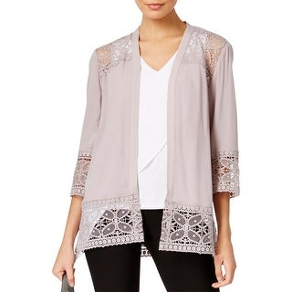 NY Collection Womens Cardigan Sweater Shell Lace Trim