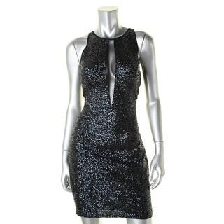 Aidan by Aidan Mattox Womens Party Dress Sequined Illusion - 6