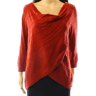 INC NEW Red Womens Size Small S Cowl Neck Textured Tiered Sweater