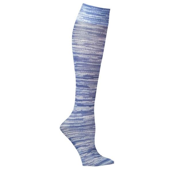 Celeste Stein Mild Compression Knee High Stockings, Wide Calf - Denim Stripes