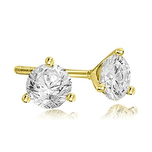 2.00 cttw. 14K Yellow Gold Round Cut Diamond Martini 3-Prong Stud Earrings - White H-I