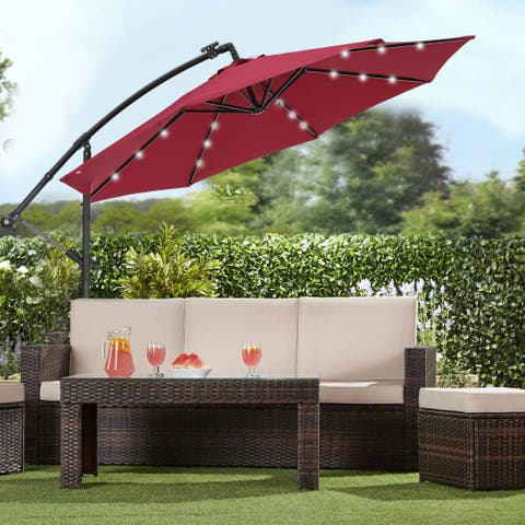 10 FT Solar LED Patio Outdoor Umbrella Hanging with 24 LED Lights