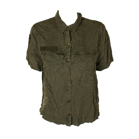 Sanctuary Green Short-Sleeve Camp Out Utility Shirt M