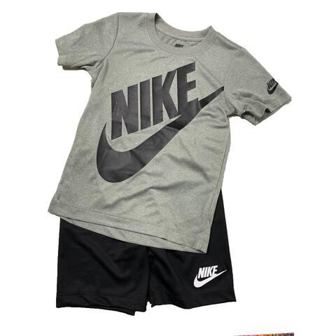Nike Boys' 2 Piece Tee & Short Set, Just Do It, Grey Swoosh Logo, 7 Kids
