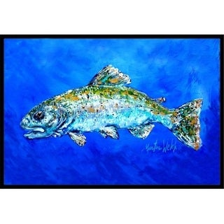 Carolines Treasures MW1124MAT 18 x 27 in. Fish Headed Downstream Indoor & Outdoor Doormat