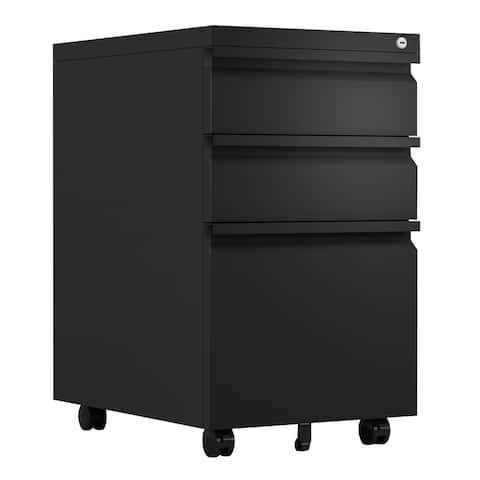 3-Drawer Metal Locking Mobile File Cabinet