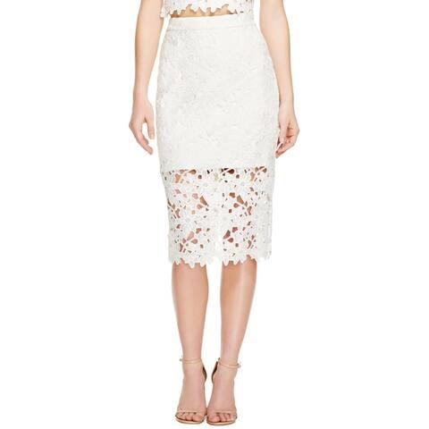 Bardot Womens Petal Skirt Lace Overlay Mid-Calf
