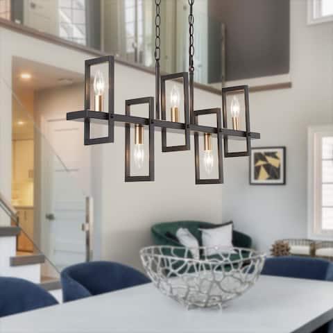 "Modern 5-Light Chandelier Linear Geometric Candle Kitchen Island Pendant Light - L31.5""xW4""xH13"""
