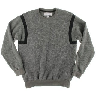 Black Apple Mens Textured Crew Neck Sweatshirt - L