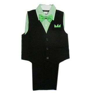 Rafael Boys Black Green Stripe Shirt Vest Pants Bowtie 4 Pcs Suit