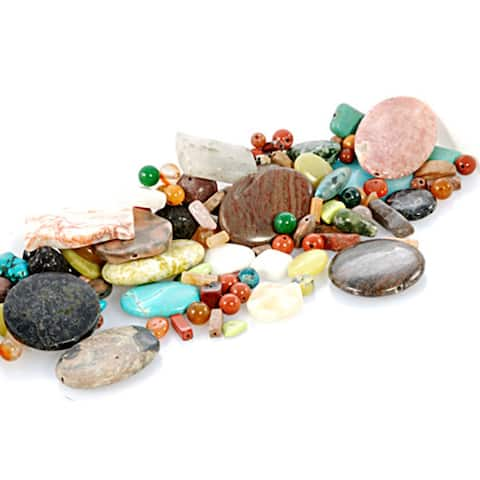 Assorted Multi Color Beads Loose Gemstone Birthstones 1 lbs Bag
