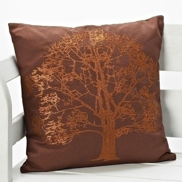 Set Of 40 Pecan Brown With Embroidered Bronze Tree Decorative Throw Delectable Bronze Decorative Pillows