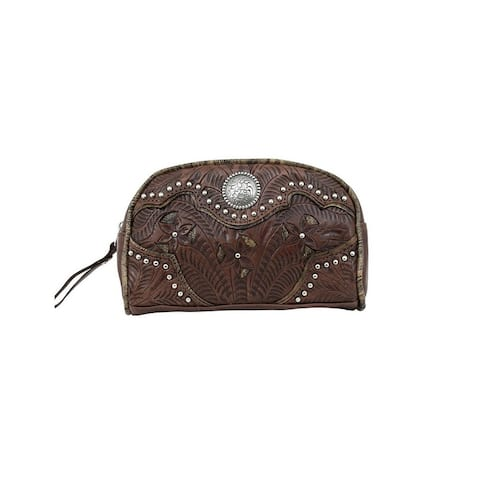 American West Western Cosmetic Case Women Inlay Eagle Chestnut - Chestnut Brown - 8 x 5 x 2.5