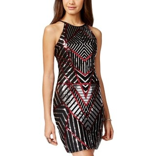 Sequin Hearts Womens Juniors Cocktail Dress Mesh Sequined - 7