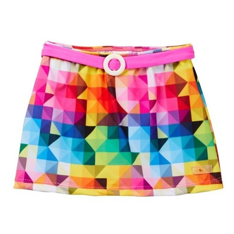 Azul Little Girls Pink Multi Color Diamond Generation Y Swim Belted Skirt