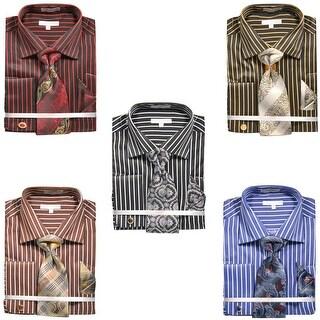 Men's Chalk Stripe French Cuff Shirt with Tie Handkerchief Cufflinks