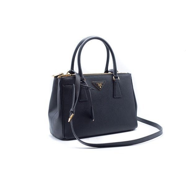 0ae48d63e0961 Shop Prada Saffiano Lux Small Black Double-Zip Leather Satchel Tote Bag -  Free Shipping