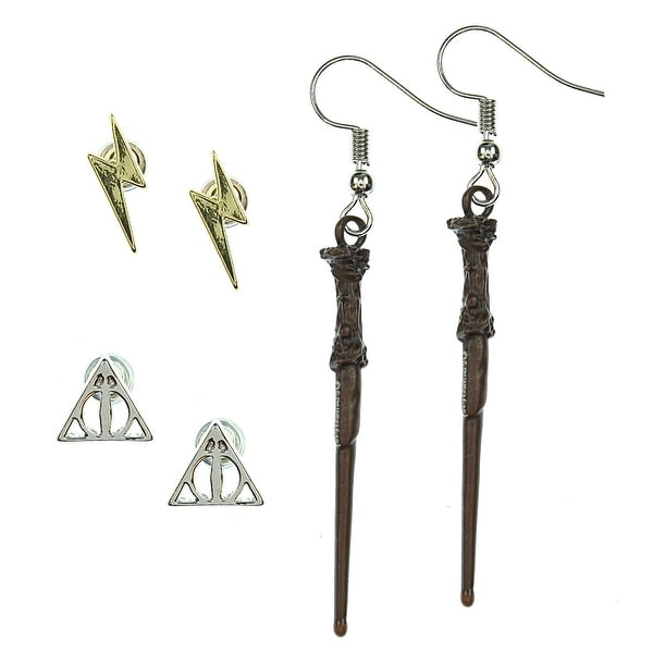 0eca3993c Shop Harry Potter Earrings For Women 3 Pack Deathly Hallows, Lightning  Scar, Harry Potter Wand - On Sale - Free Shipping On Orders Over $45 -  Overstock - ...