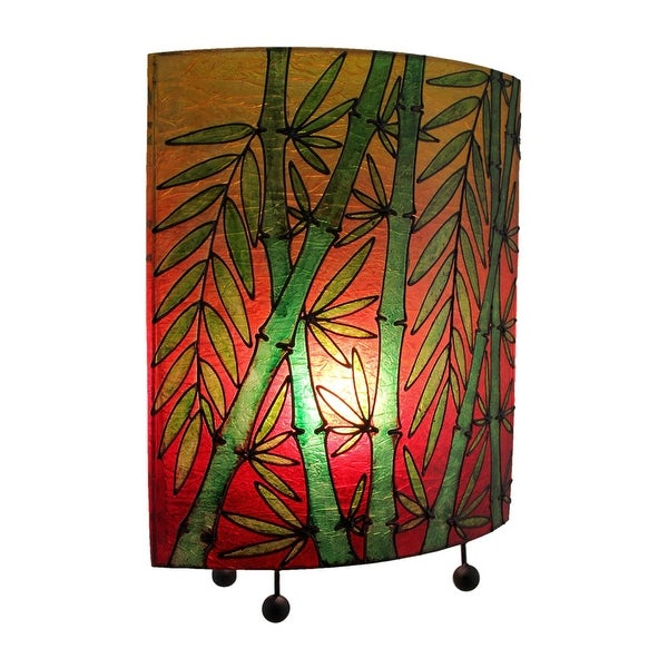 Tropical Colored Lucky Bamboo Oval Table Lamp - 15.75 X 12 X 5.5 inches. Opens flyout.