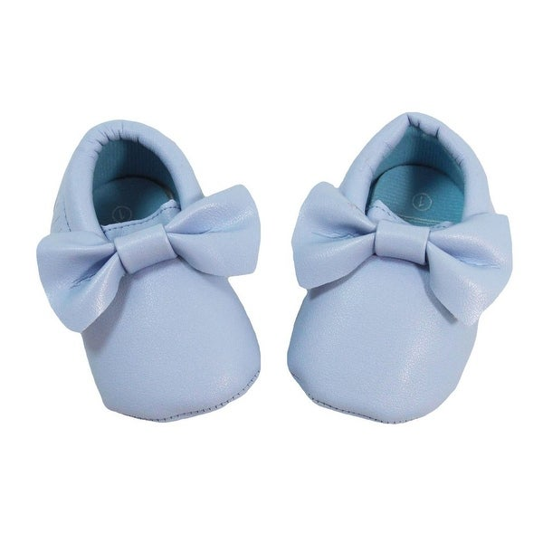 Baby Girls Light Blue Bow Faux Leather Moccasin Soft Sole Crib Shoes 6-12M
