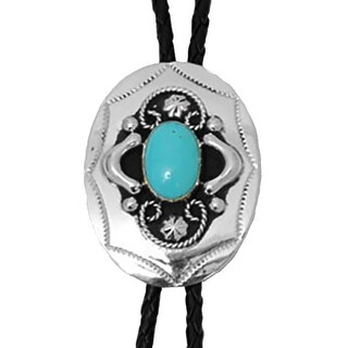German Silver Tone with Turquoise Stone Western Bolo Tie - One size