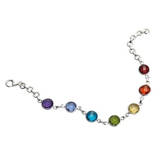 Women's Rainbow Glass Bracelet - Seven Faceted Glass Stones on Silver Chain - Multicolored