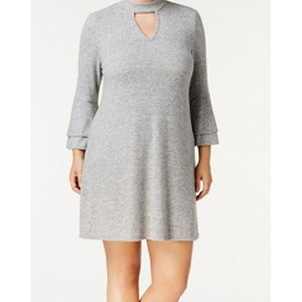 e60fc5e509a Shop BCX Gray Women s Size 1X Plus Bell Sleeve Fleece Sweater Dress - On  Sale - Free Shipping On Orders Over  45 - Overstock - 27331956