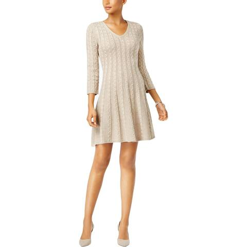 Jessica Howard Womens Petites Sweaterdress Cable-Knit V-Neck