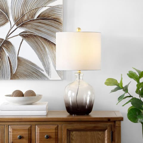 "SAFAVIEH Lighting 23-inch Remzi Ombre Grey LED Table Lamp - 12"" W x 12"" L x 23"" H"