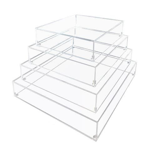 Clear Acrylic Box with Lid for Display Box Cake Stand Dessert Riser