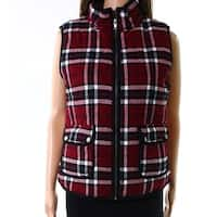 Staccato Red Womens Size Small S Plaid Full Zip Cotton Vest Jacket