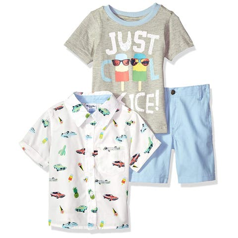 Nannette Boys' Toddler 3 Piece Woven Shirt and tee Short Set,, White, Size 4T