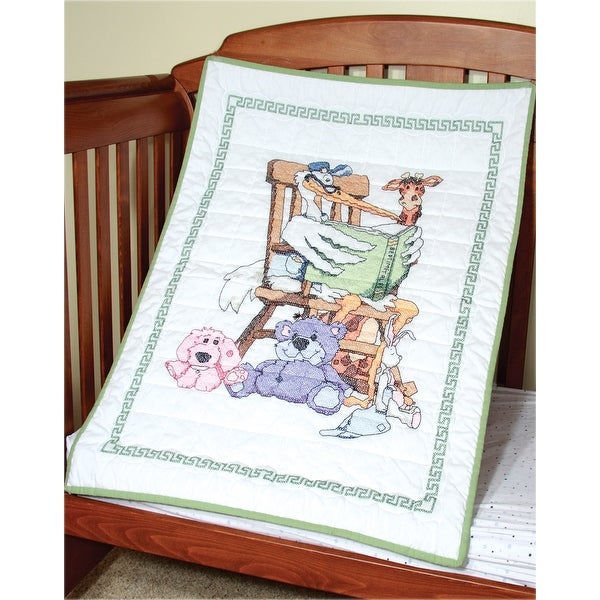 """Stamped Baby Quilt Top 36""""X50""""-Stork"""