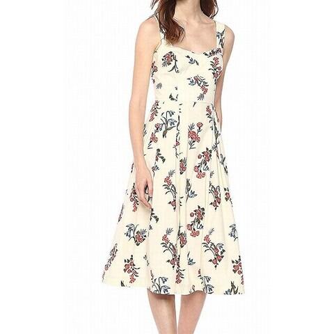Donna Morgan Beige Womens Size 2 Floral Smocked A-Line Dress