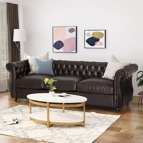 Somerville Chesterfield Tufted Faux Leather Sofa with Scroll Arms by Christopher Knight Home