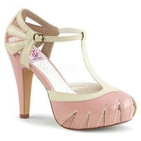 Pin Up Couture Women's Bettie 25 Hidden-Platform T-Strap Baby Pink-Cream Faux Leather