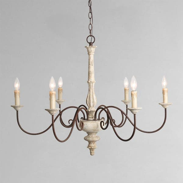 Farmhouse 6 Light Persian White French Country Chandelier Rustic Wood Island Lighting For Kitchen D37 H28 Overstock 25454915