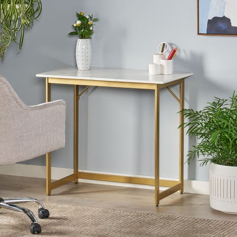 Gallia Modern Glam Handcrafted Marble Top Desk by Christopher Knight Home