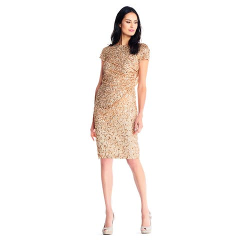 d7d0c50a Adrianna Papell Short Sleeve Sequin Beaded Dress Cowl Back, Champagne/Gold,  14P