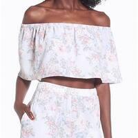 Wayf Blue Womens Size Medium M Off-Shoulder Floral Crepe Blouse