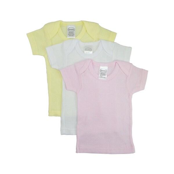 Bambini Baby Girl's White, Yellow, Pink Rib Knit Short Sleeve T-Shirt 3 - Pack