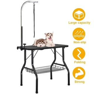 VECELO Pet Dog Grooming Table Heavy Duty Foldable with Adjustable Arm