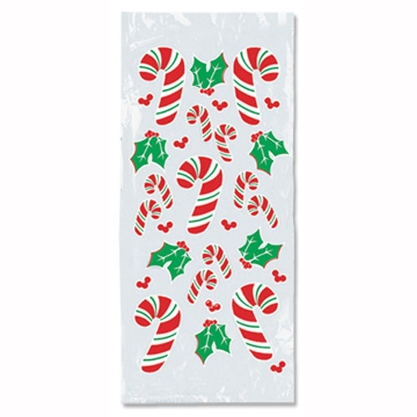 "Club Pack of 300 Christmas Candy Cane and Holly Cello Bags 4"" x 9"" - RED"