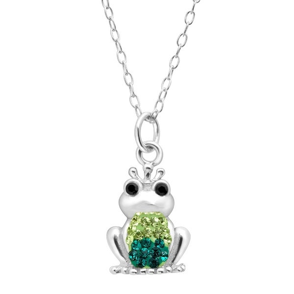 Crystaluxe Frog Pendant with Swarovski elements Crystals in Sterling Silver